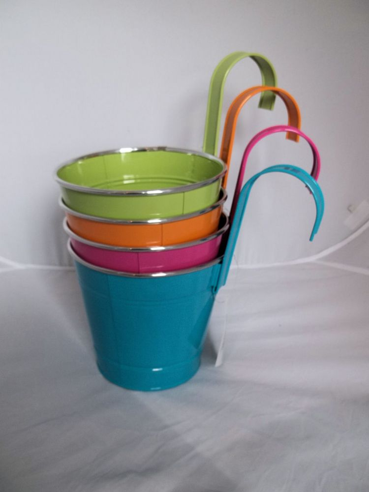 Bright Coloured Bucket Style Planters Novelty Garden
